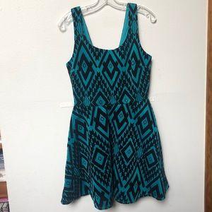 Geometric print velour velvet holiday party dress